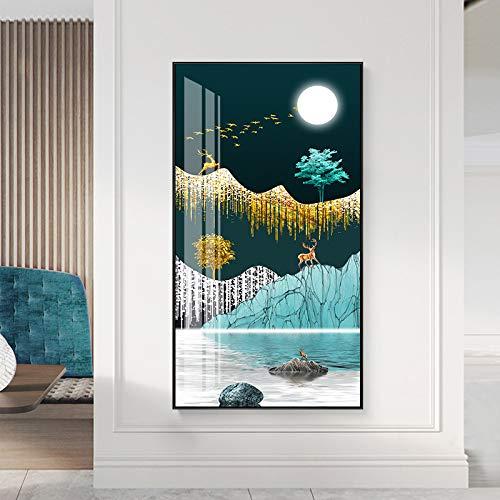 Immagine geometrica della parete della pittura della tela della tela del manifesto della stampa di arte dei cervi della luna del paesaggio della montagna di arte astratta della parete40x80cm