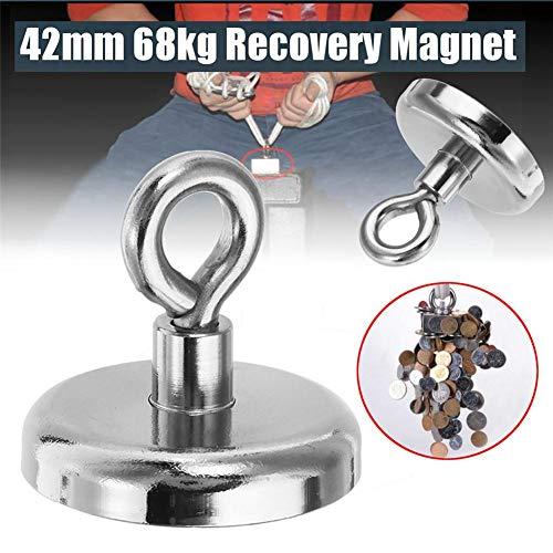 68 KG Haftkraft Neodym Ösenmagnet Magnete, Super Stark Magnete Perfekt Zum Magnetfischen Magnet Angel - Ø 42mm Mit Öse Neodymium Topfmagnet