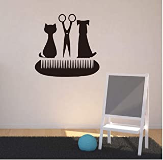 Huanxidp Grooming Salon Scissors Comb Wall Decals Pet Shop Decor Cat and Dog Vinyl Wall Sticker 40cm x 38cm