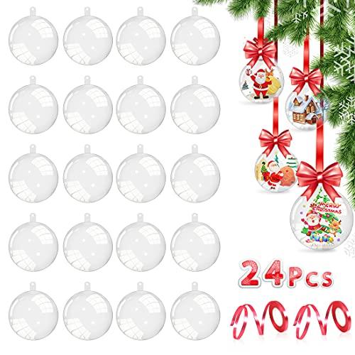 Aurasky Bolas de Navidad Transparentes, 24 pcs Bolas Acrílicas Transparentes, DIY Bolas Rellenables, 8cm Bolas Rellenables Bolas, Bola de Decoración Navideña, Decoraciones de Navidad