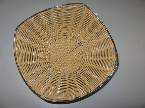Supreminox Cesta Ondulada con pie de Acero Poly-Rattan 24 cm