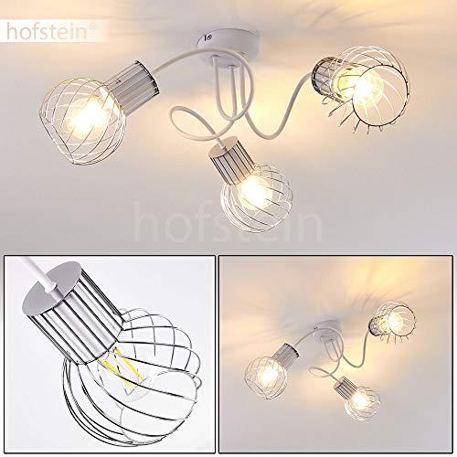 Deckenleuchte Barakaldo, Deckenlampe aus Metall in Weiß/Chrom, 3-flammig, 3 x E27-Fassung max. 40 Watt, Spot im Retro/Vintage Design in Gitter-Optik und Lichteffekt an der Decke, LED geeignet