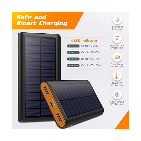 AOPAWA Solar Power Bank 26800mAh, Solar Charger [2020 Intelligent Control IC ] Portable Charger High Capacity Fast…