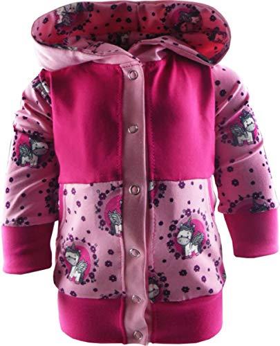 KLEINER FRATZ Baby/Kinder Kaputzen Jacke EINHORNDESIGN mit Bauchtasche (Farbe Einhorn pink-rosa/pink) (Größe 86/98)