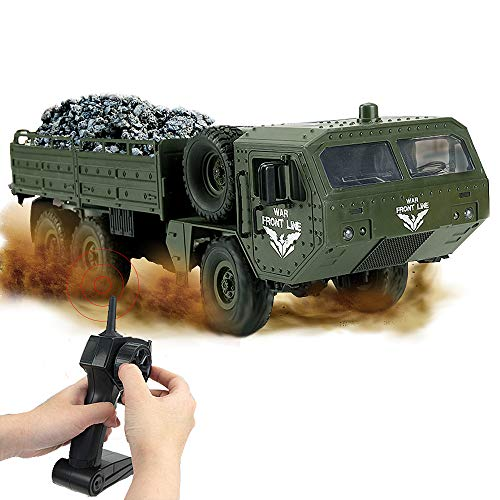 small WQ RC Military Truck, 6WD 2.4 GHz Remote Control Army Vehicle Offroad Vehicle, for Adults and Children