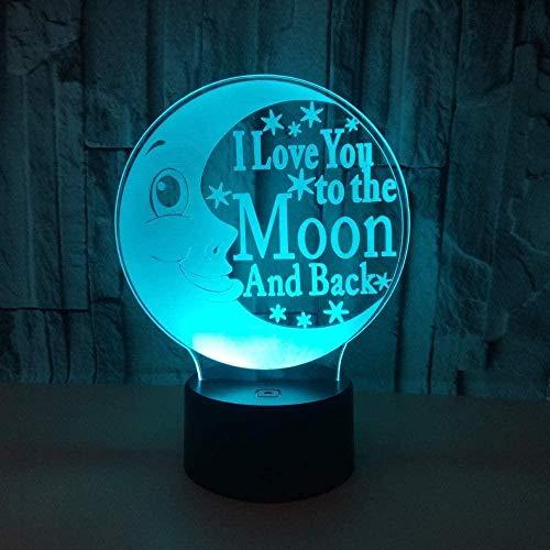 Lámpara de mesa 3D Lámpara de Navidad 3D Dibujos animados creativos Ojos de luna Control remoto Toboganes de noche para niños Regalo de Navidad