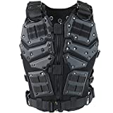 Action Union Tactical Vest for Men Adults Adjustable Airsoft Paintball Vest Combat Vest Tactical Molle Vest CS Shooting Wargame Outdoor Training (Black)
