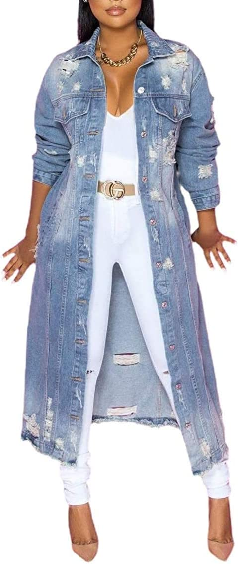 Alilyol Jean Jacket for Women It is very popular Distressed Ripped San Francisco Mall Sleeve Long Over