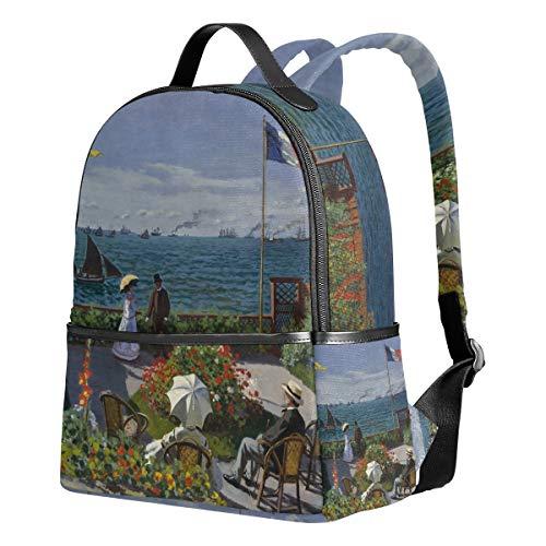 Ahomy Mochila para Niñas, Jardín de Monet en Sainte Adresse Sea Mochila Escolar Libro Bolsas Casual Daypacks para Viajes y Deportes