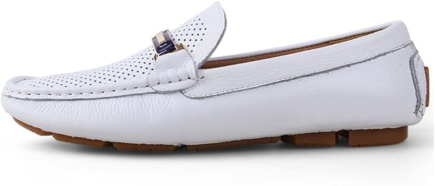 Men's shoes Leather Summer Fall Moccasin Loafers & Slip-Ons Casual Office & Career White, Black