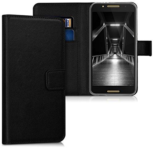 kwmobile Alcatel A7 Hülle - Kunstleder Wallet Case für Alcatel A7 mit Kartenfächern & Stand - Schwarz