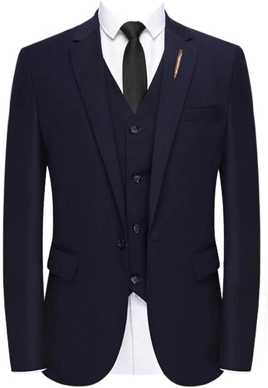 Gocgt Mens Long Sleeve 3-Piece Dress Suit Blazer Coat Tux Vest & Pants