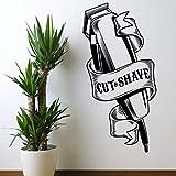 Salon de Coiffure Outils Coupe Rasage fenêtre Verre Stickers muraux Coiffeur Salon de Coiffure Boutique Sticker Mural Vinyle décoration 100x50 cm