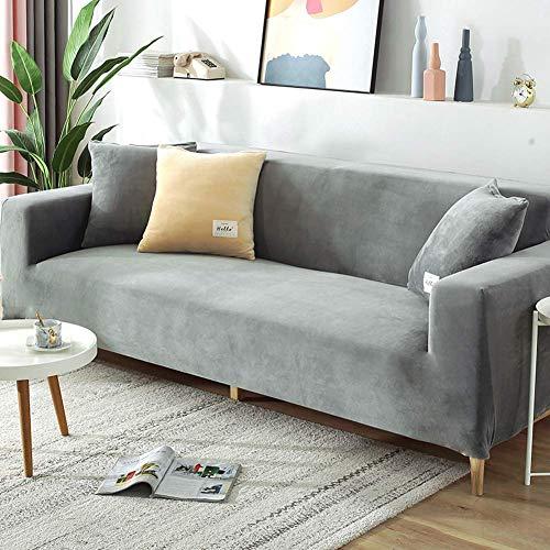 XHNXHN Funda de Terciopelo para sofá, Funda de sofá seccional elástica, sofá de Dos plazas en Forma de L, Protector de Muebles Lavable con Fondo elástico para niños, Mascotas, Gris Claro 74-90 pulg