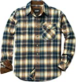 CQR Men's All Cotton Flannel Shirt, Long Sleeve Casual Button Up Plaid Shirt, Brushed Soft Outdoor Shirts, Corduroy Lined(hof110) - Blue Stilton, Large