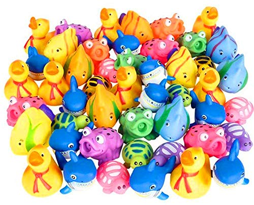 Kicko Squirt Toys Assortment for Kids - 50 Pieces Water Squirting Animals - for Baby Bath Summer Pool Aquarium Decorations Beach Party Favors