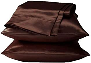 Leoie Pillowcases, Soft and Comfortable Imitation Satin Silk Pillowcases for Hair Cool and Easy to Wash, Wrinkle Free, Hotel Collection, Luxury Bedding Pillowcase Brown 50X76