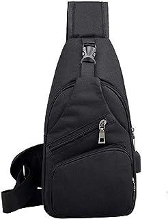 Clenp Bolsa de pecho para hombre, informal, para exteriores, con puerto de carga USB, para senderismo, ciclismo, viajes