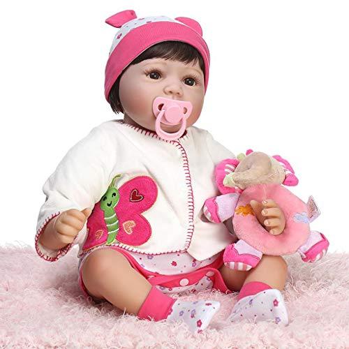 55,9 cm Silikonpuppe, lebensechte Puppe, Blumenmuster, Mantel, Socken, Mütze, Mini-Plüsch-Elefant, frühe Kindheit, Kinderspielzeug