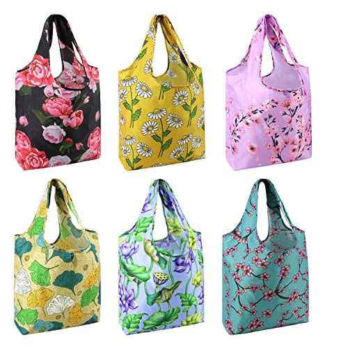 BeeGreen Floral-Shopping-Grocery-Bags-Reusable Flower Folding Tote Bags X Large 50LBS Pattern Folded Eco Bag with Attached Pouch 6 Pack Ripstop Waterproof Cloth Machine Washable Durable Sturdy