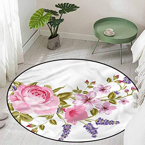 Round Welcome Non-Slip Doormat Garland of Rose Sakura Diameter 60 inch Outdoor Rugs