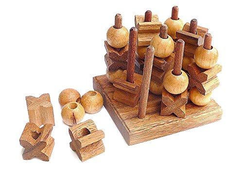 Logica Spiele Art. Tic-Tac-Toe 3D - Holz Spiel - Strategiespiel - Brettspiele aus Edlem Holz