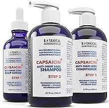 BOTANICAL HAIR GROWTH LAB - Anti-Hair Loss Scalp Treatment, Shampoo and Conditioner - HerbalCeutical CAPSAICIN+ Oil-Free Formula - Hair Loss Prevention for Men & Women, Alopecia Postpartum DHT