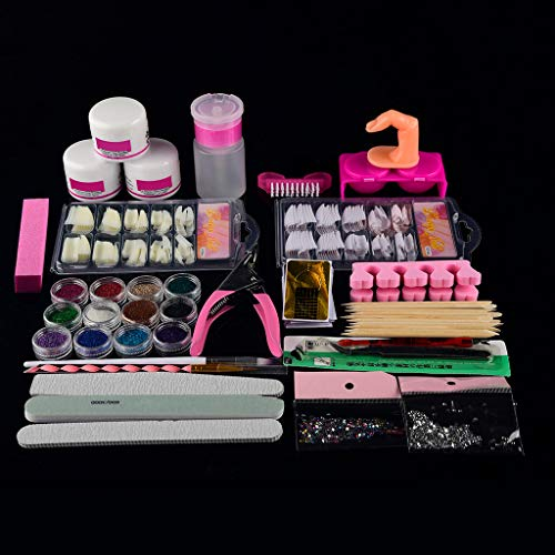 SatinGold Nagel Kunst Design Set, Damen Nagel Art Deco Tips Professionelle Acryl Glitter Farbe Pulver Set, Punktierung Stift Nagel Strass Picker Pinzette Nagel Folie Paillette Nail Art Kit