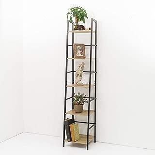 C-Hopetree Ladder Bookcase Bookshelf Storage Shelf Vintage Industrial Plant Display Stand Rack Shelving, Home Office Accent Furniture, Black Metal Frame, 5 Tier Slim