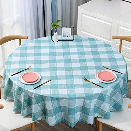 WHDJ Nappes Rondes et rectangulaires, Nappe à Carreaux en PVC, étanche à l'huile, Anti-brûlure, nettoyez la Couverture de Table