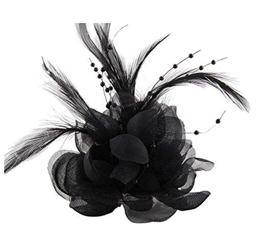Cheerlife Ansteckblume, Haarblume Haarschmuck Haarblüte mit Haarclip Feier Tanz Brosche Blumen Kopfschmuck Bekleidung Zubehör Schwarz
