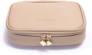 Jewelry Box 17.5 * 13 * 4.5cm Jewelry Bag Storage Box Earrings, Necklace, Portable Travel Portable High-end Box (Color : Khaki)