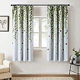 Topfinel カーテン 北欧 青いの葉 可愛い お洒落 幅100x丈110cm 2枚組 遮光 防寒 UVカット 腰窓用 出窓用 掃き出し窓用
