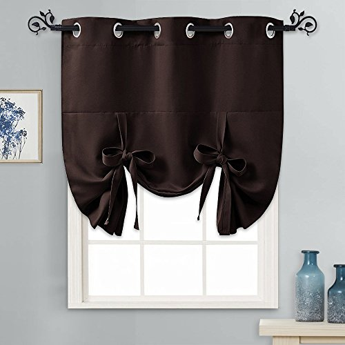 PONY DANCE Blackout Shades for Windows - Tie Up Curtains and Valances Set Roman Balloon Blind Grommet Top for Kitchen/Bathroom/Bedroom/Bay, 1 Piece, 46 x 63 inches (W x L), Brown