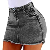 N\P Damen Sommer Kurze Jeans Denim Weibliche Taschen Waschen Mini Röcke Reißverschluss Tasche Rock...
