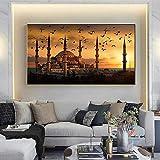 HUANGXLL Paisaje Moderno Estambul Atardecer Arte Pintura al óleo Arte de la Pared Sala de Estar Pintura decorativa-50x100cm sin Marco