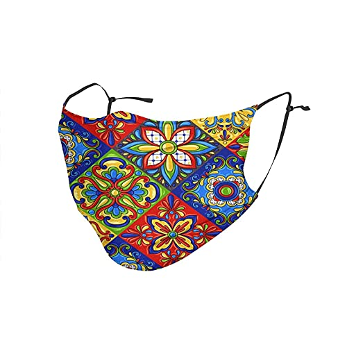 Mascarilla facial transpirable Talavera Mexicana Azulejo de cerámica reutilizable cubierta de boca anti polvo cubierta facial pasamontañas para mujeres y hombres