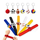 SPECOOL Bracelets à Claquer Silicone Football Slap Bracelets pour Soirée à thème Ballon de Sport l'anniversaire Anniversaire Parti Sac Remplisseurs Cadeau Party Favors pour Filles Garçons