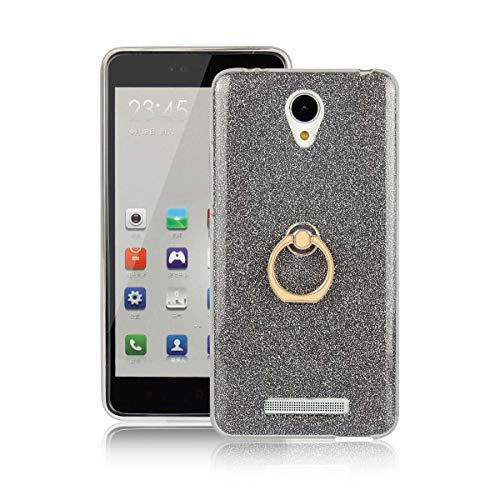 tinyue Cover per Xiaomi Redmi Note2, Silicone Lucido Custodia Calotta in Morbido Silicone Antiurto in TPU Ultra-Sottile Coperchio con Fibbia ad Anello in Metallo, Nero