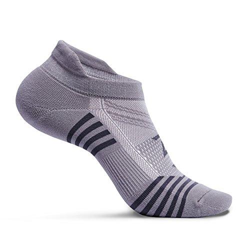 Zeropes Anti-Blister No Show Running Socks (Large, Grey)