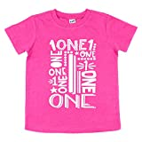 ONE Boys Girls 1st Birthday Shirt Gift for Baby Kids - Party T-Shirt (12 Month, Heather Hot Pink)