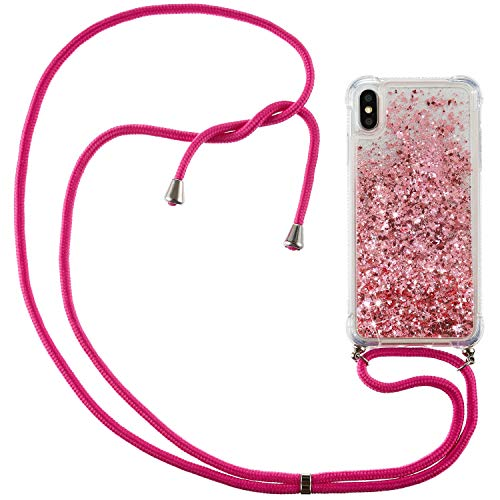 XINYUNEW Mobile Phone Chain Compatible with iPhone X/XS Case, Mobile Phone Case with Strap for iPhone X/XS, Glitter Liquid Quicksand Protective Case TPU Silicone for iPhone X/XS Rose
