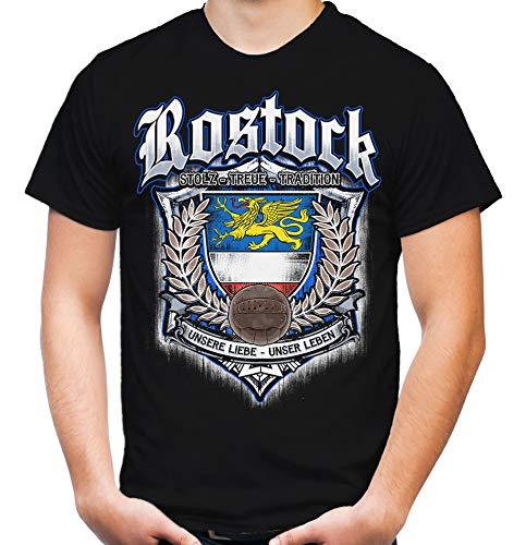 Für Immer Rostock Männer und Herren T-Shirt | Sport Fussball Stadt Fan (XL, Schwarz Druck: Bunt)