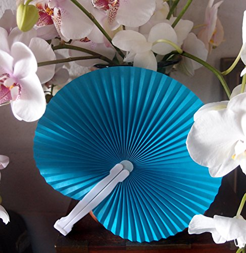 """Quasimoon PaperLanternStore.com 9"""" Turquoise Chinese Folding Accordion Paper Hand Fan for Weddings (10 Pack)"""