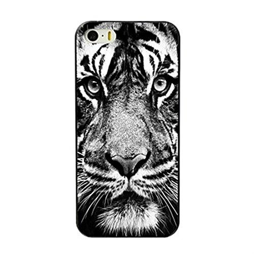 SecondDromi Blanco y Negro Feroz Tigre patrón Duro Funda para iPhone 8 Plus(5,5'),Blanco
