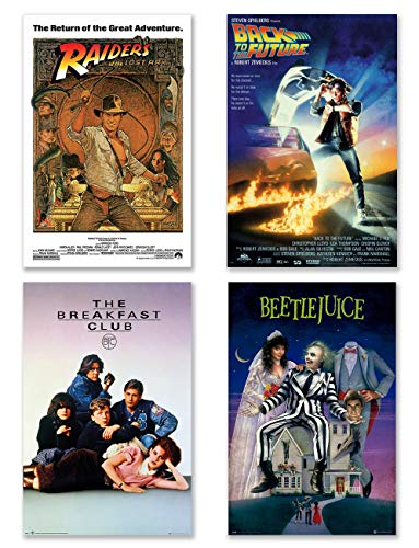 POSTER STOP ONLINE Classic 80's Movie Posters Set (Raiders Of The Lost Ark, Back To The Future, Breakfast Club, Beetlejuice) (Size 24 x 36')