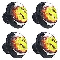 キャビネットノブ4個クリスタルガラスプルハンドル野球ボール 家具のドアまたは引き出しを開く場合