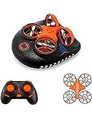 Hovercraft Drone, Mini Drone EACHINE E016F 2.4GHZ Modo sin Cabeza, Deformable Anfibio (1 Batería)