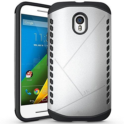 JKase Canvas Slim Protective Dual Layer Armor Case Cover for Motorola Moto X Style (Moto X Pure Edition) (Silver)