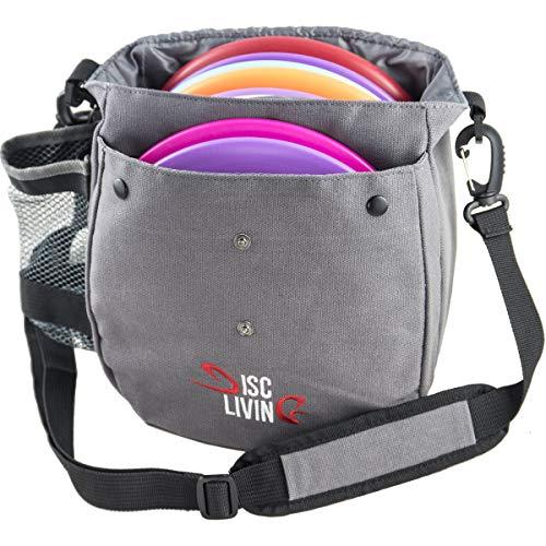Disc Living Disc Golf Bag | Frisbee Golf Bag | Lightweight Fits Up to 10 Discs | Belt Loop | Adjustable Shoulder Strap Padding | Double Front Button Design | Bottle Holder | Durable Canvas (Gray)